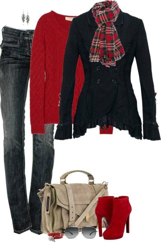 Комбинация в червено: Дънки с червени велурени боти и шал