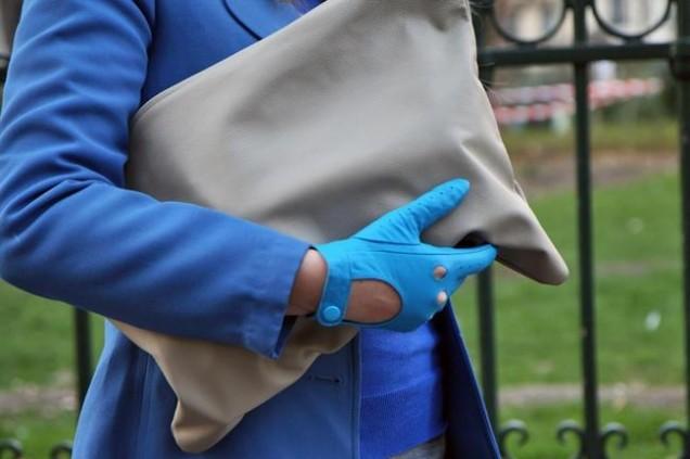 Красиви кожени ръкавици в синьо зима 2016