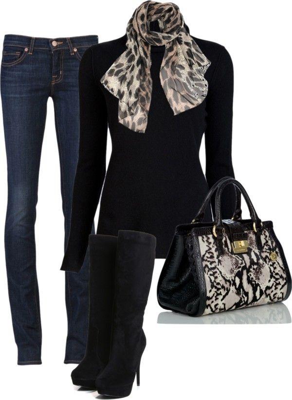 Дънки комбинирани с високи велурени ботуши и шал и чанта с принт зебра
