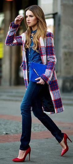 Стилно карирано палто зима 2015