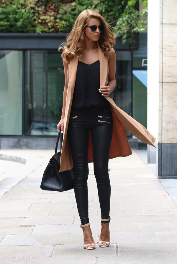 Елегантна комбинация панталон с палто есен 2015