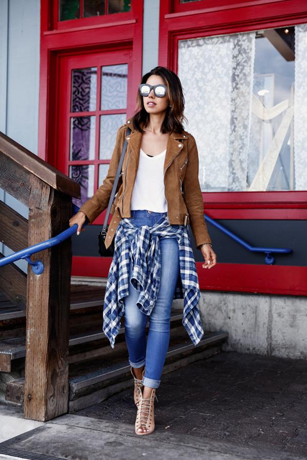 Дънки в комбинация с кожено яке есен 2015