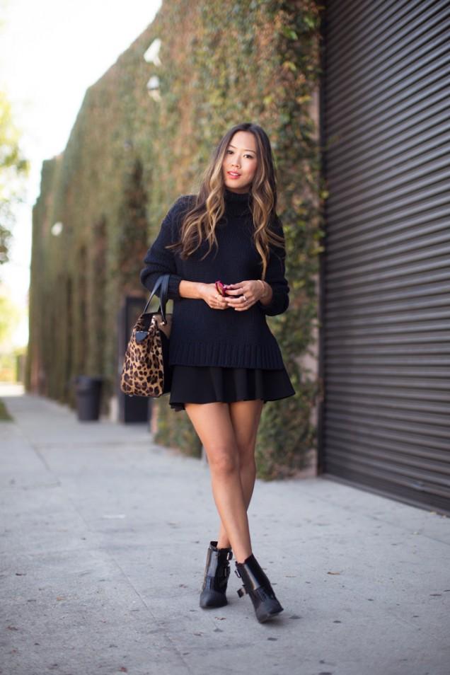 Стилна комбинация в черно с къса пола и пуловер есен 2015