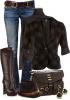 Дънки в комбинация с високи кожени ботуши и сако есен 2015