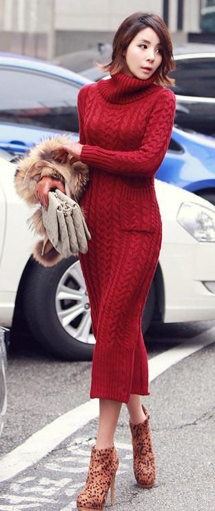 Дълга плетена червена рокля зима 2015