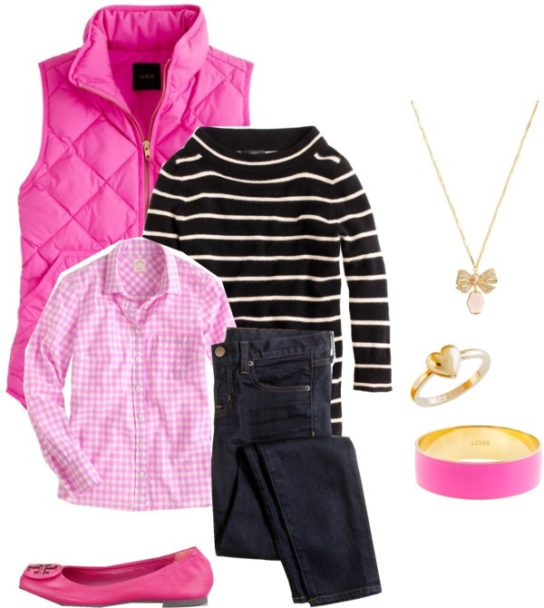 Елек в розова комбинация за зима 2015