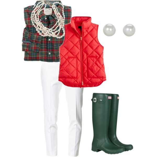 Червен елек в комбинация с бял панталон и гумени ботуши зима 2015