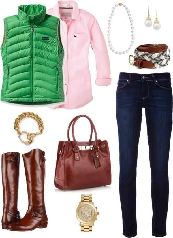 Готина комбинация със зелен елек и дънки зима 2015