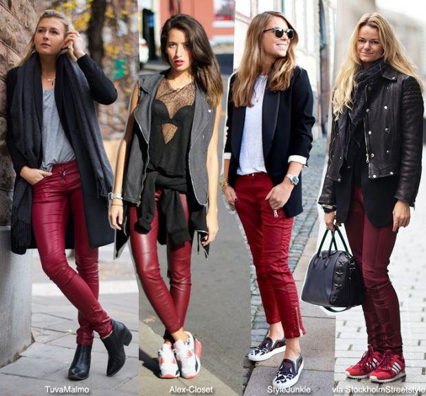 Модерни панталони цвят бордо зима 2015