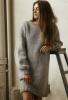 Широка сива плетена рокля зима 2015