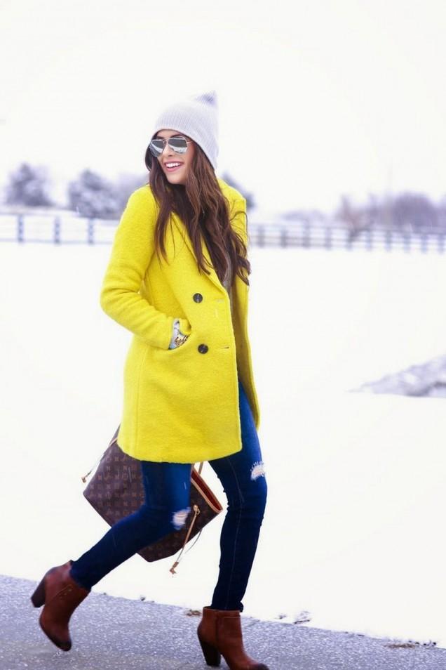 Готино жълто зимно палто