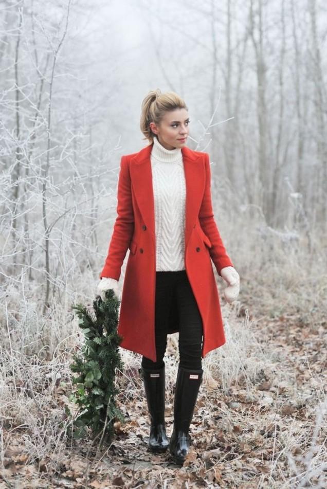 Модерно червено палто