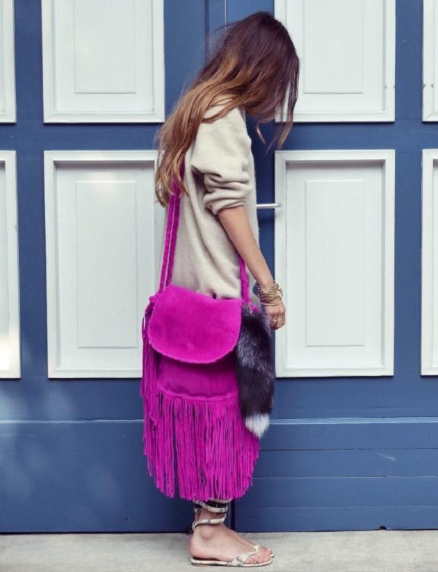 Ефектна лилава чанта с ресни 2016