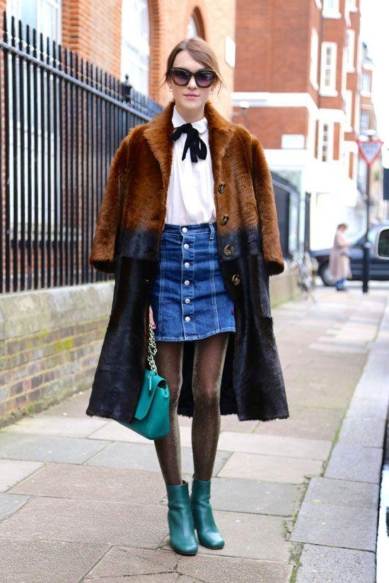 Къса дънкова пола комбинирана с ефектно палто 2016
