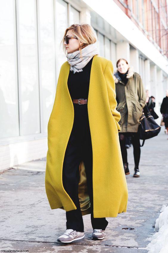 Дълго палто цвят охра зима 2016
