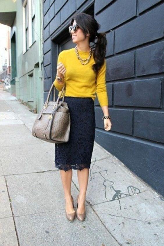 Блуза цвят охра, комбинирана с пола тип молив зима 2016