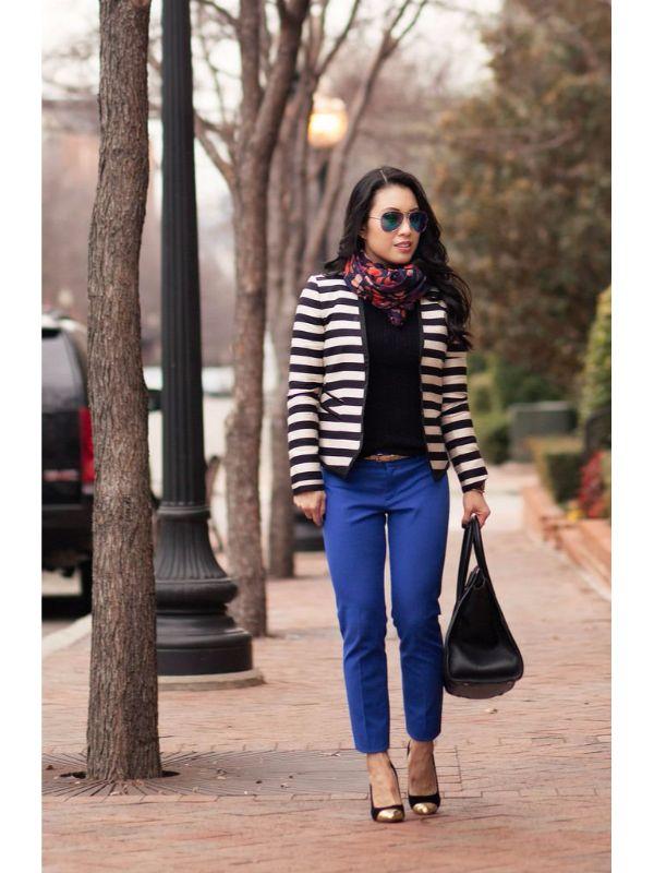 Сако райе в комбинация с панталон в турско синьо пролет 2016