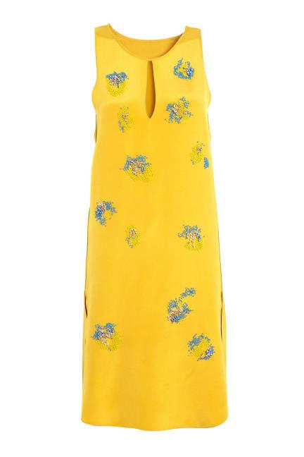 Копринена рокля в жълто