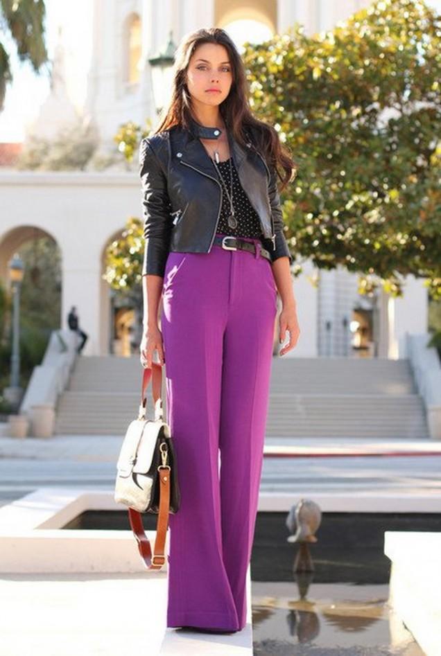 Комбинация с широк лилав панталон пролет 2016
