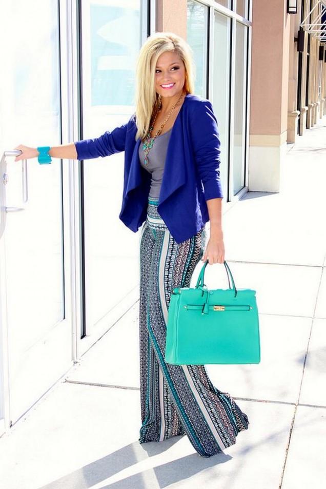 Свежа комбинация с цветен широк панталон в синьо за пролет 2016