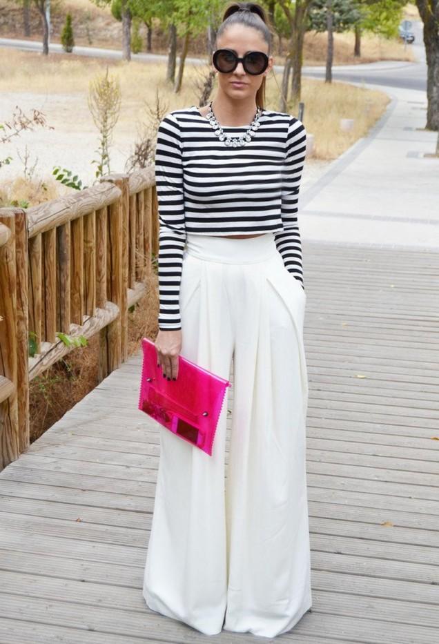 Бял широк панталон комбиниран с близа райе пролет 2016