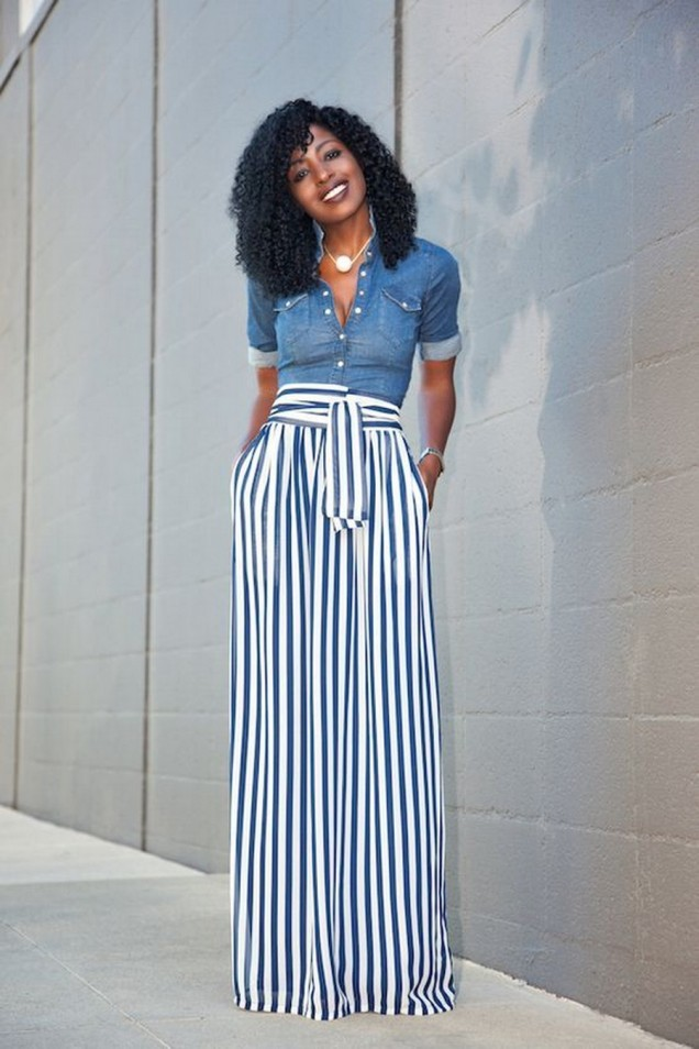 Широк панталон райе в комбинация с дънкова риза пролет 2016
