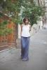 Комбинация широк син панталон с бял топ пролет 2016