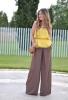 Широк панталон комбиниран с жълт топ пролет 2016