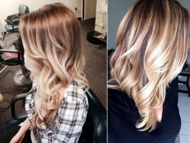 Балеаж прическа злато светла коса 2016