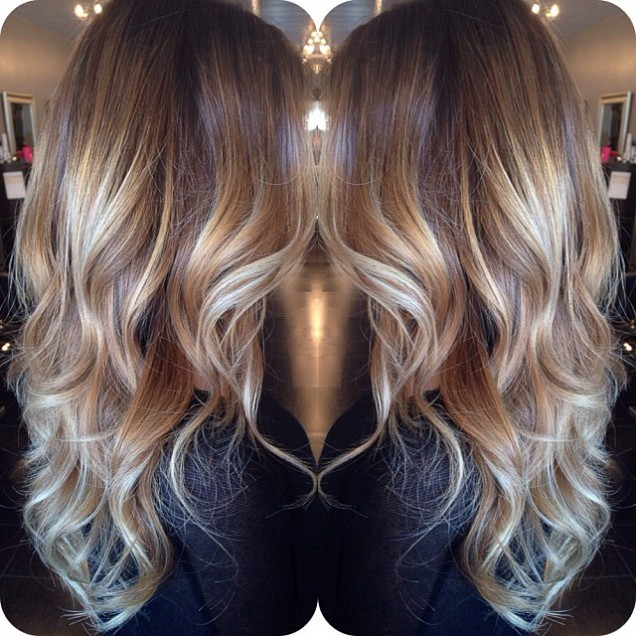 Балеаж 2016 прическа платинено тъмна коса