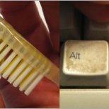 Стара четка за зъби и тампони за уши за клавиатурата