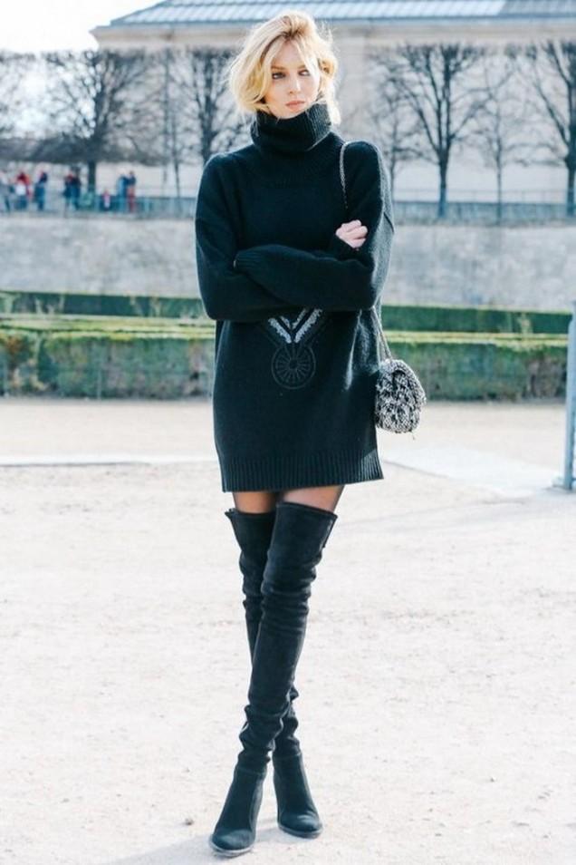 Много дълги чизми комбинирани с къса рокля зима 2016