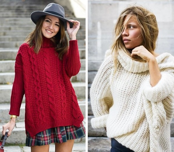 Широки плетени пуловери зима 2016