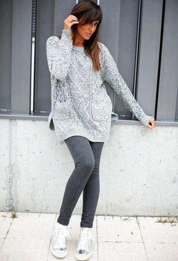 Голям сив пуловер комбиниран с клин зима 2017