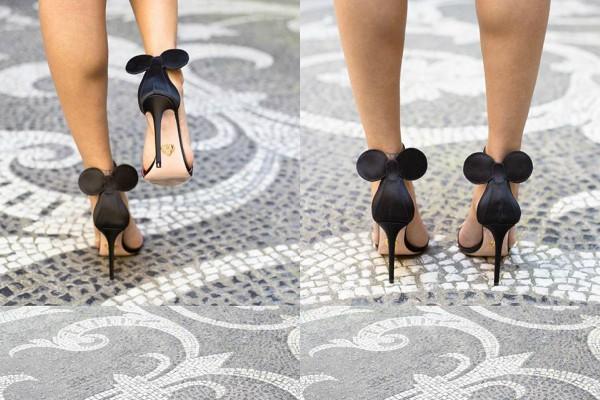 Черни сатенени Мини сандали 2017