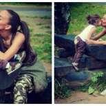 Николета целува детето си