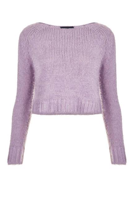 Плетен къс пуловер