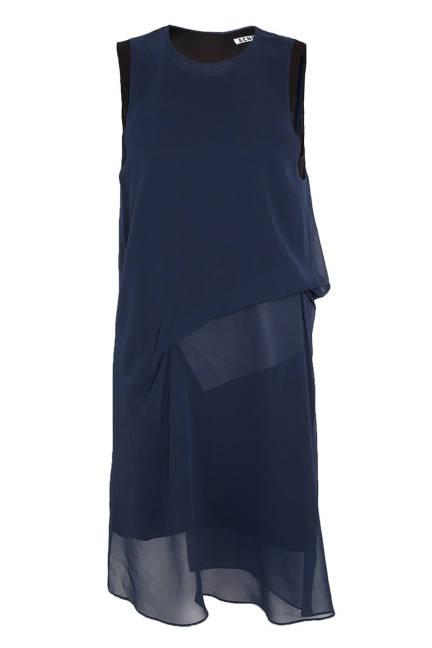 Копринена синя рокля