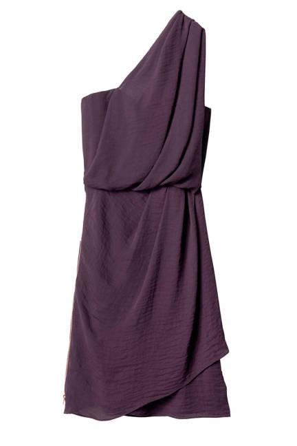 Секси рокля с едно рамо в лилаво