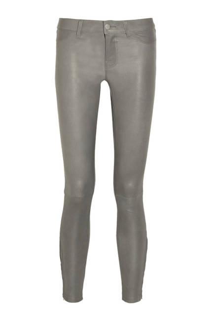 Кожени панталони в сиво