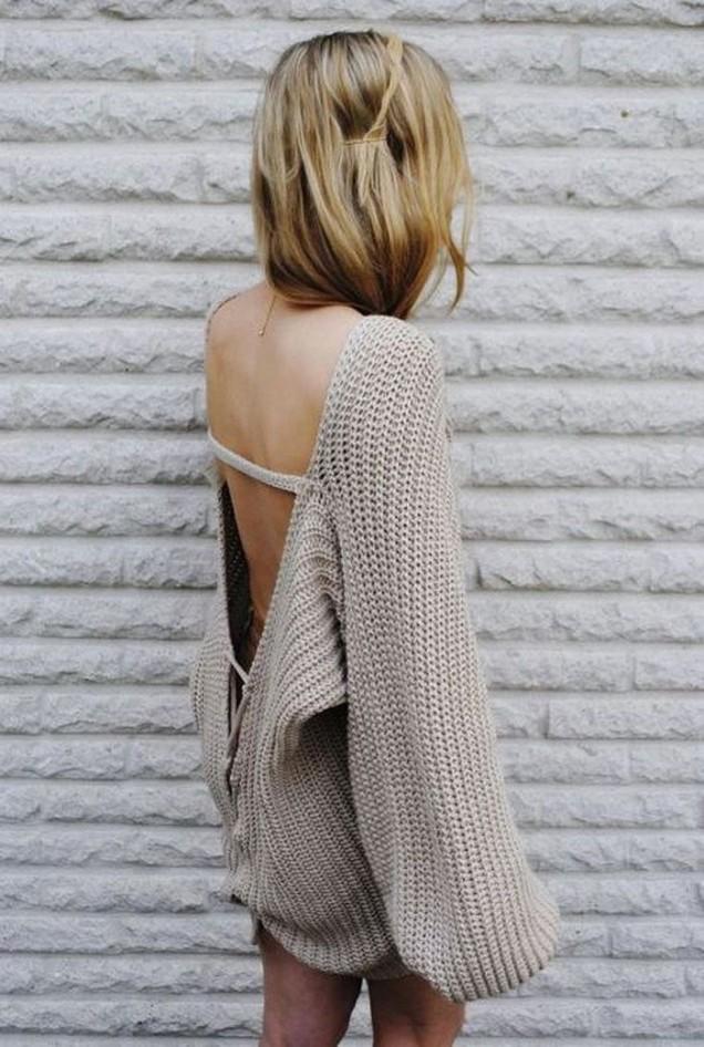 Широк плетен пуловер с гол гръб пролет 2017