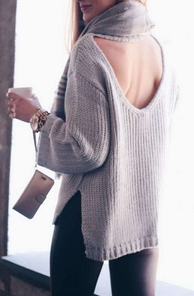 Модерен плетен пуловер с гол гръб пролет 2017