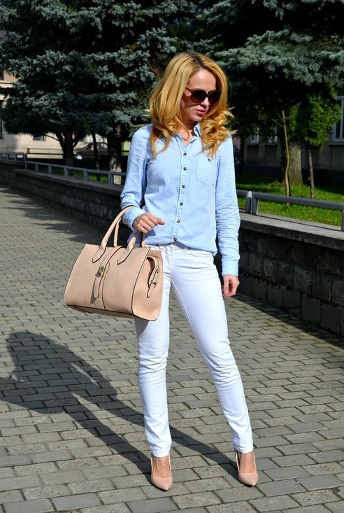 Елегантна комбинация с бели дънки лято 2017