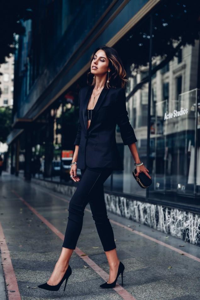 Класически черни остри обувки с висок тънък ток лято 2017
