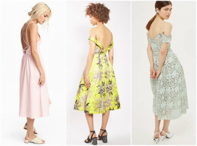 Свежи цветни рокли с отворен гръб 2017