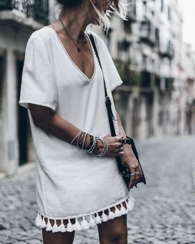 Бяла рокля тип туника лято 2017