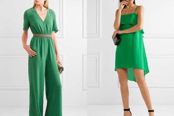 Гащеризон и стилна рокля в зелено лято 2017