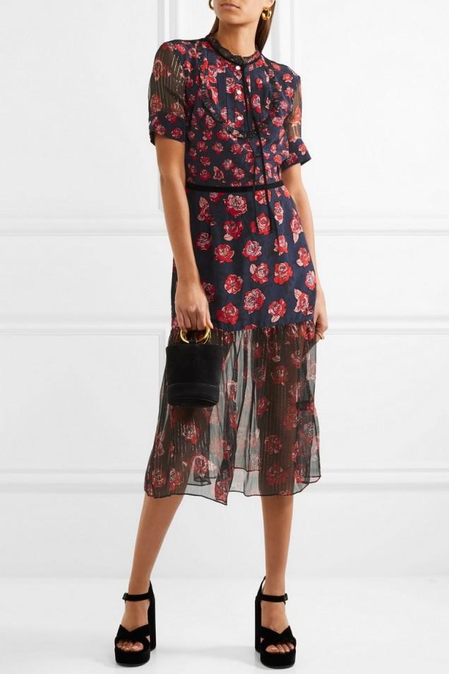 Интересен модел рокля с флорални мотиви лято 2017