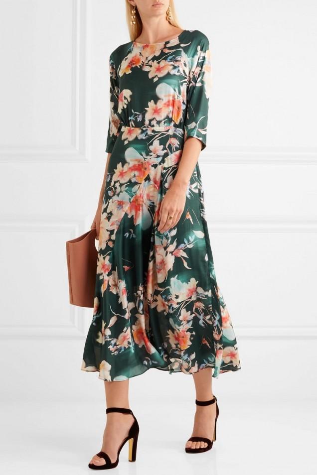 Красива флорална рокля с дълъг ръкав лято 2017