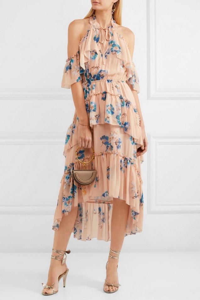 Красива флорална рокля с голи рамене лято 2017